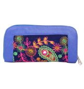 Envie Faux Leather Embroidered Blue & Multi Zipper Closure Minaudiere Style Clutch