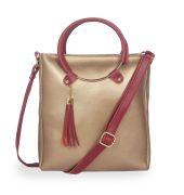 Aliado Polyester Gold & Maroon Zipper Closure Handbag