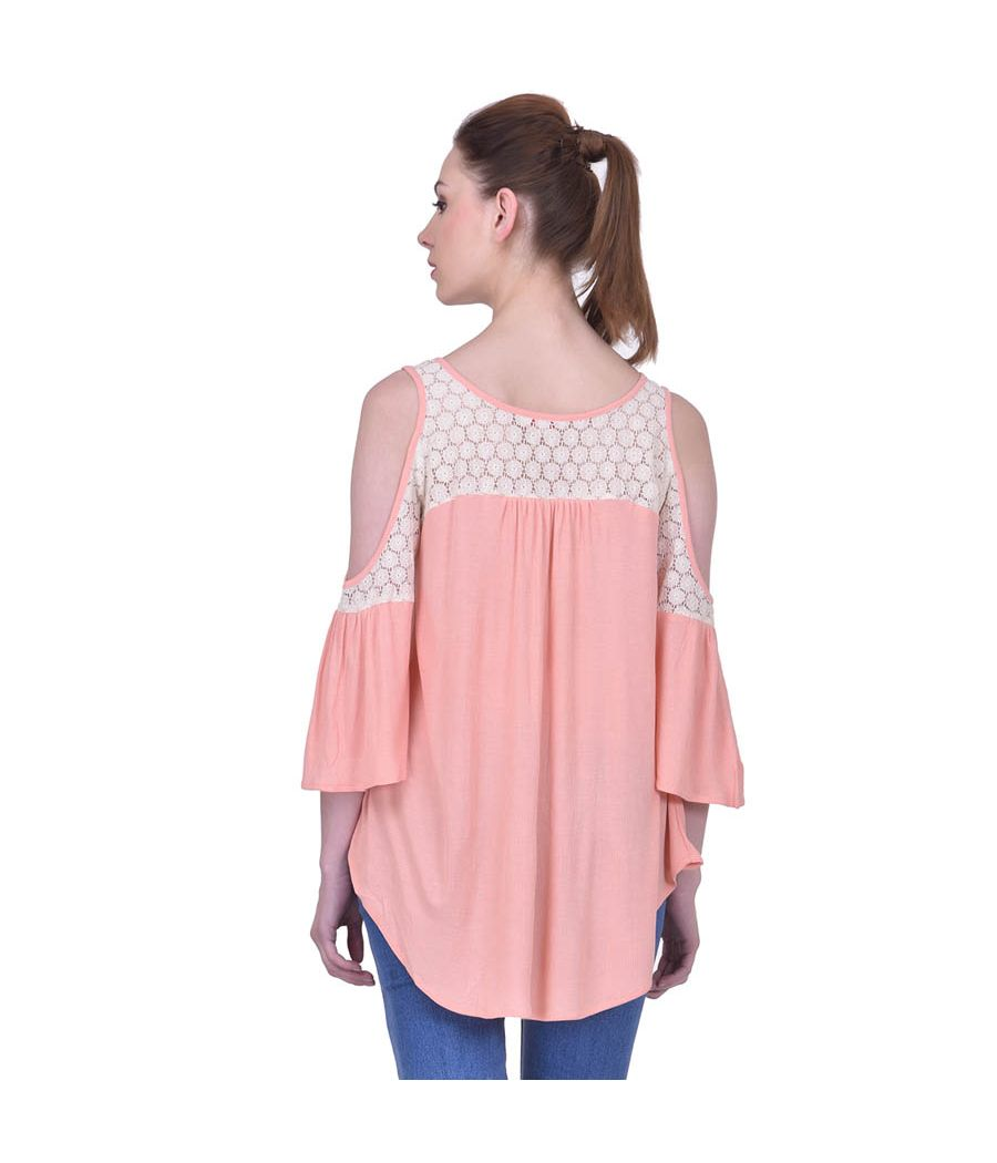 Estance Hosiery Solid Peach Cold Shoulder Bell Sleeved Casual Top