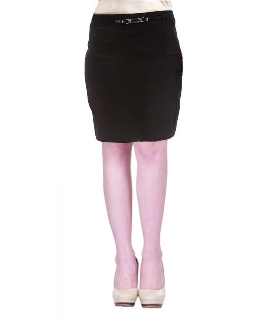 G2000 Women Polyester Solid Black Zip Closure Casual Midi Skirt