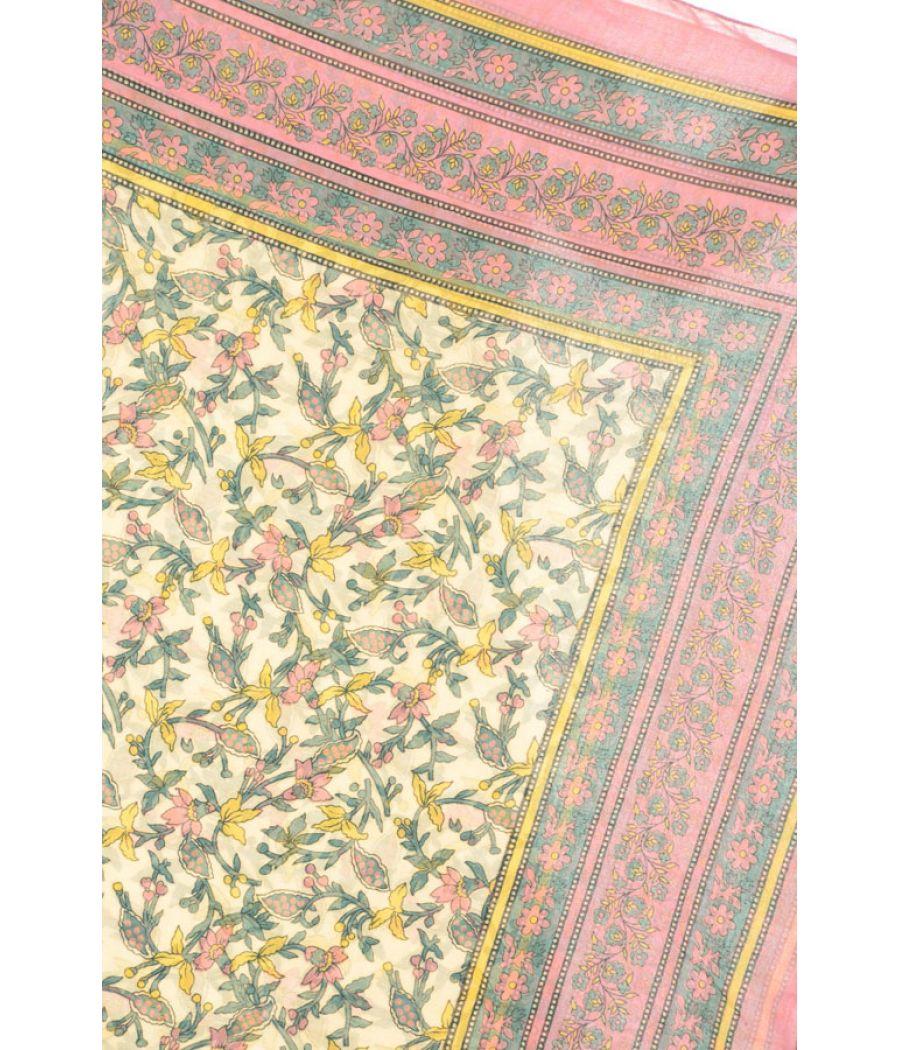 Cotton Blend Floral Print Multi Scarf