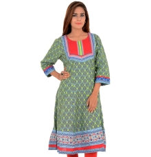 Rangriti Cotton Green/Multi Anarkali Kurti