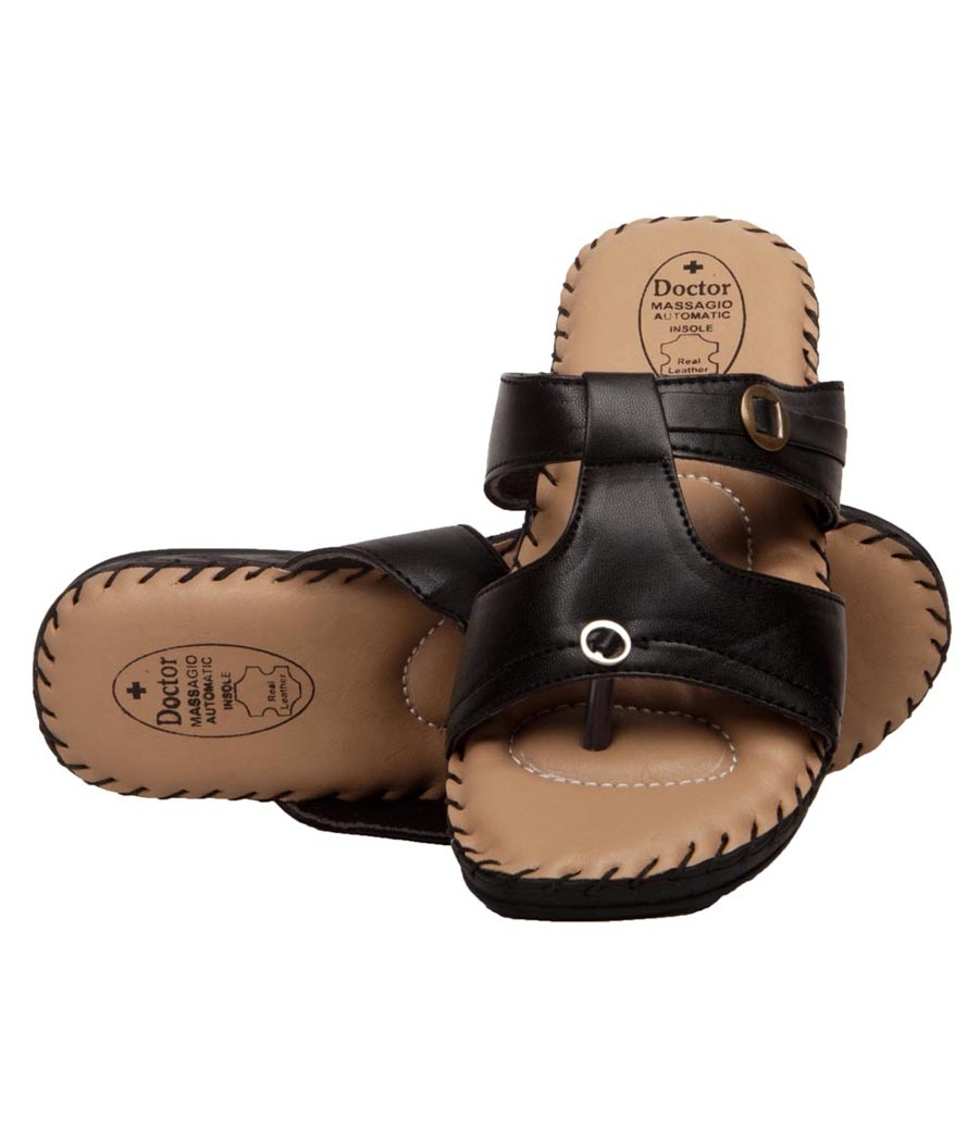 Rudra Collection Synthetic Leather Black Twin Strap Platform Flip Flop
