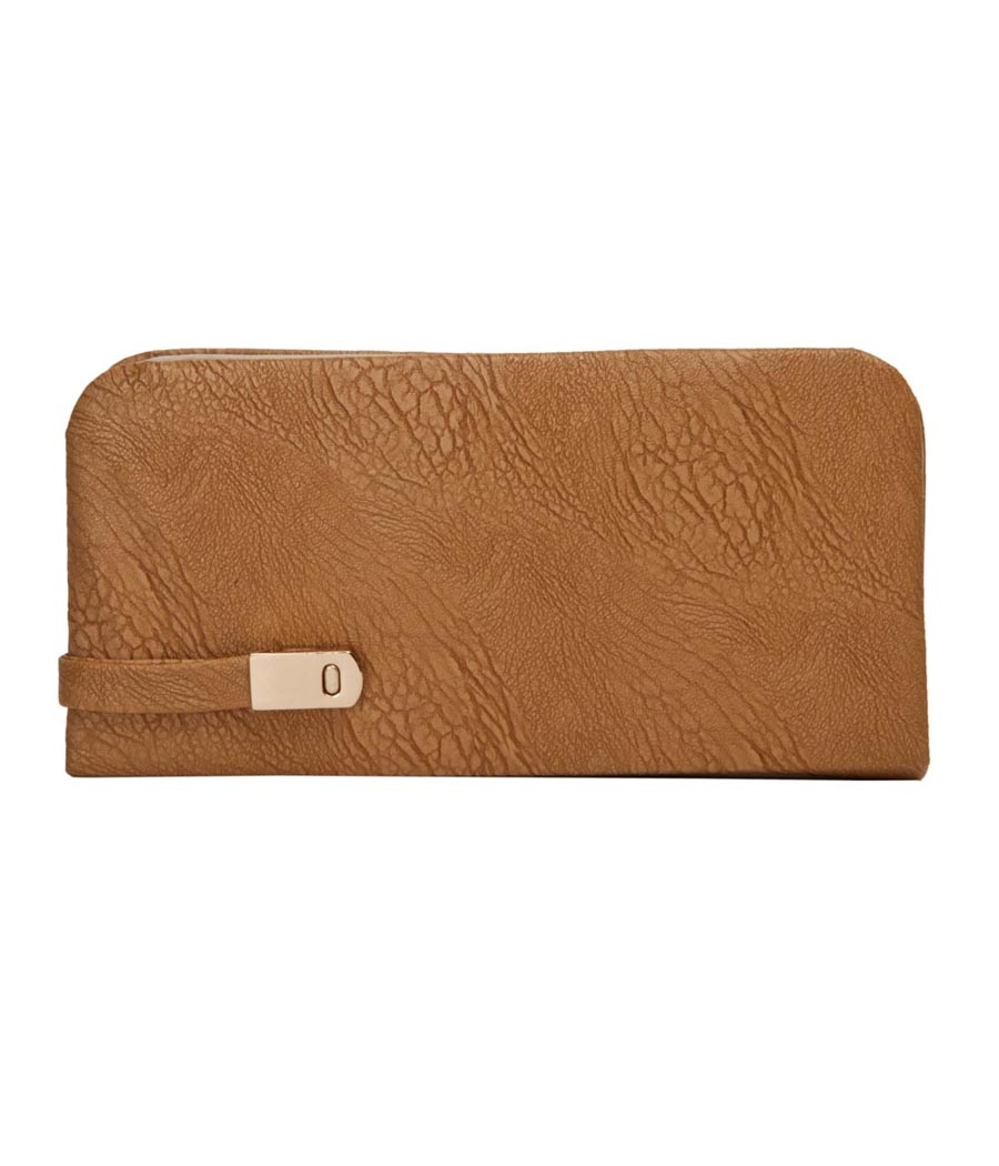 Envie Faux Leather Brown Magnetic Snap Closure Croc Pattern Minaudiere Clutch