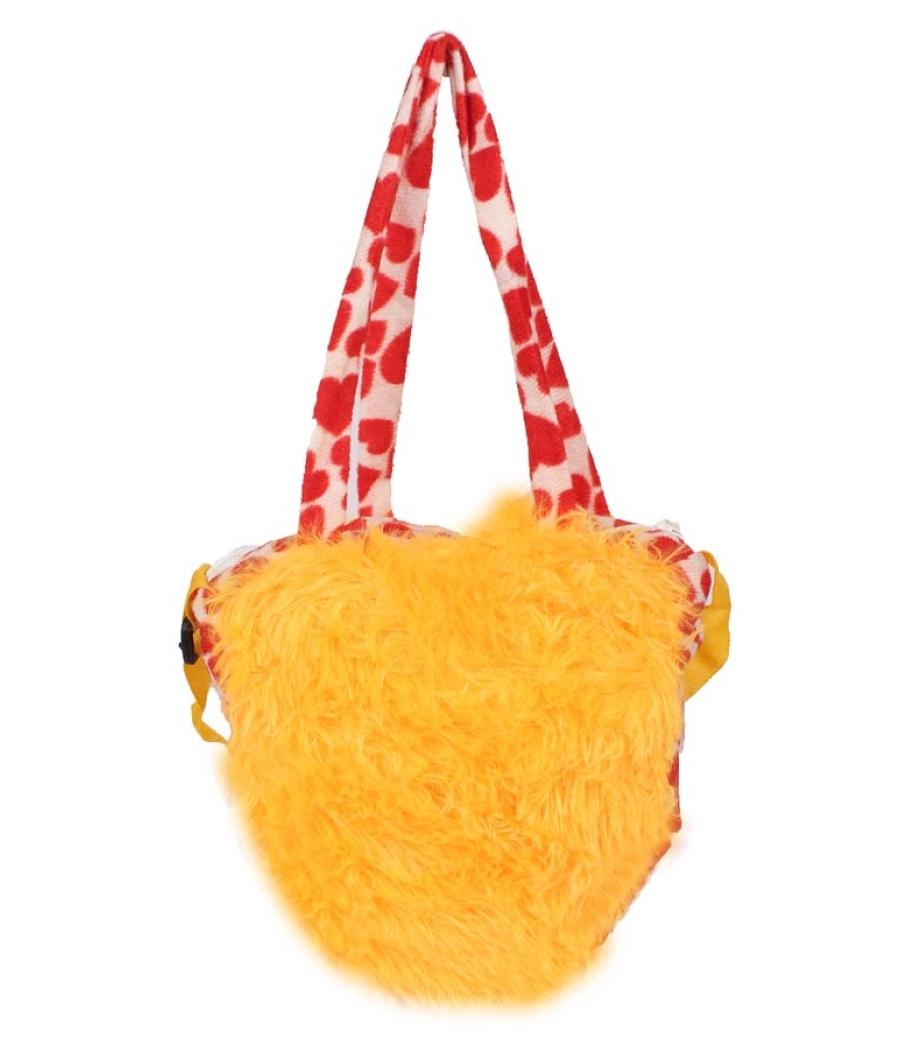 Envie    Faux Fur Yellow  Coloured Zipper Closure Sling Bag