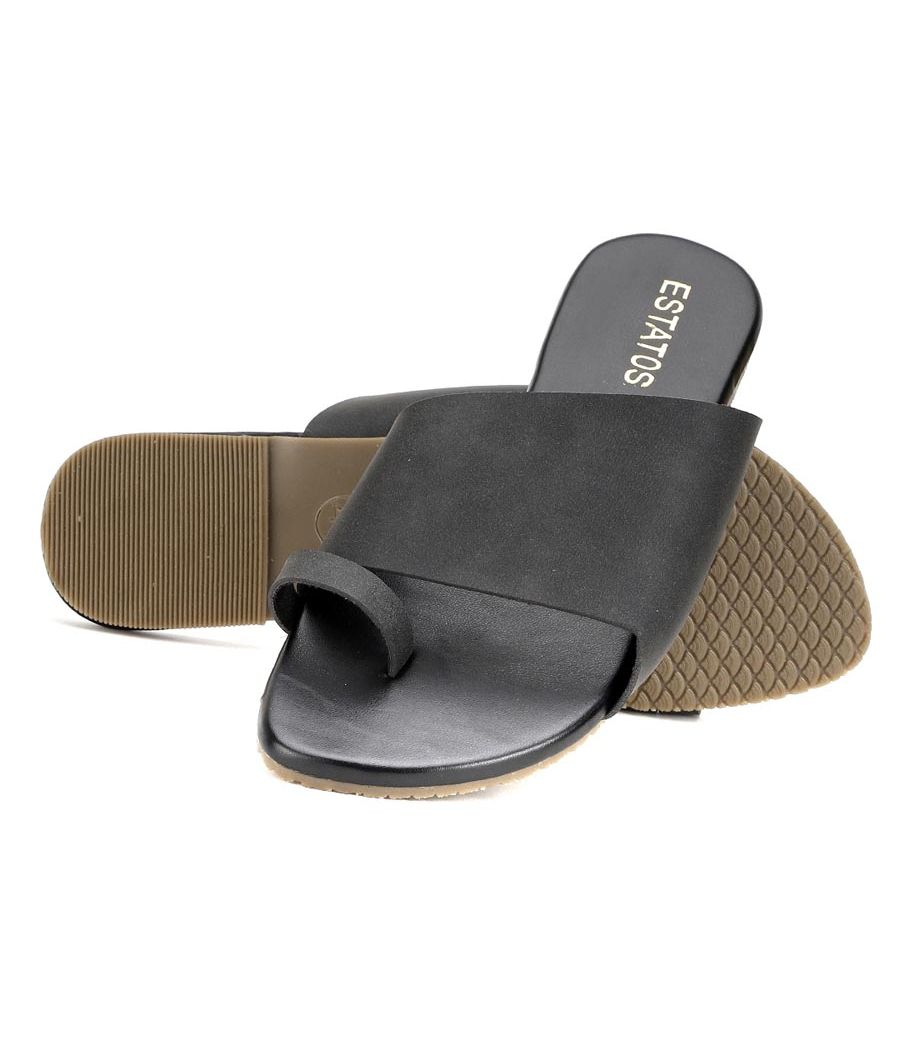 Estatos Black Colour Broad Strap Open Toe Casual Flats