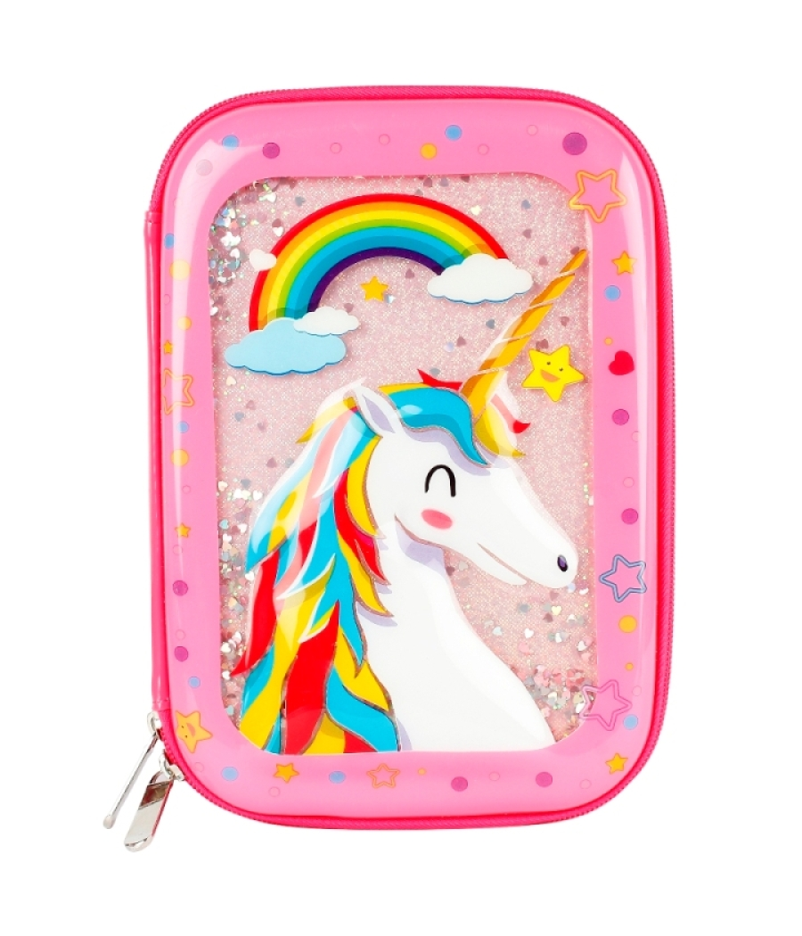 One Piece Cute Unicorn Water Glitter Pouch Storage for Stationary and Makeup Accessories Girls.
