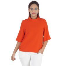 Closet Stretch Knit Plain Solid Orange Coloured High Neck Casual Top