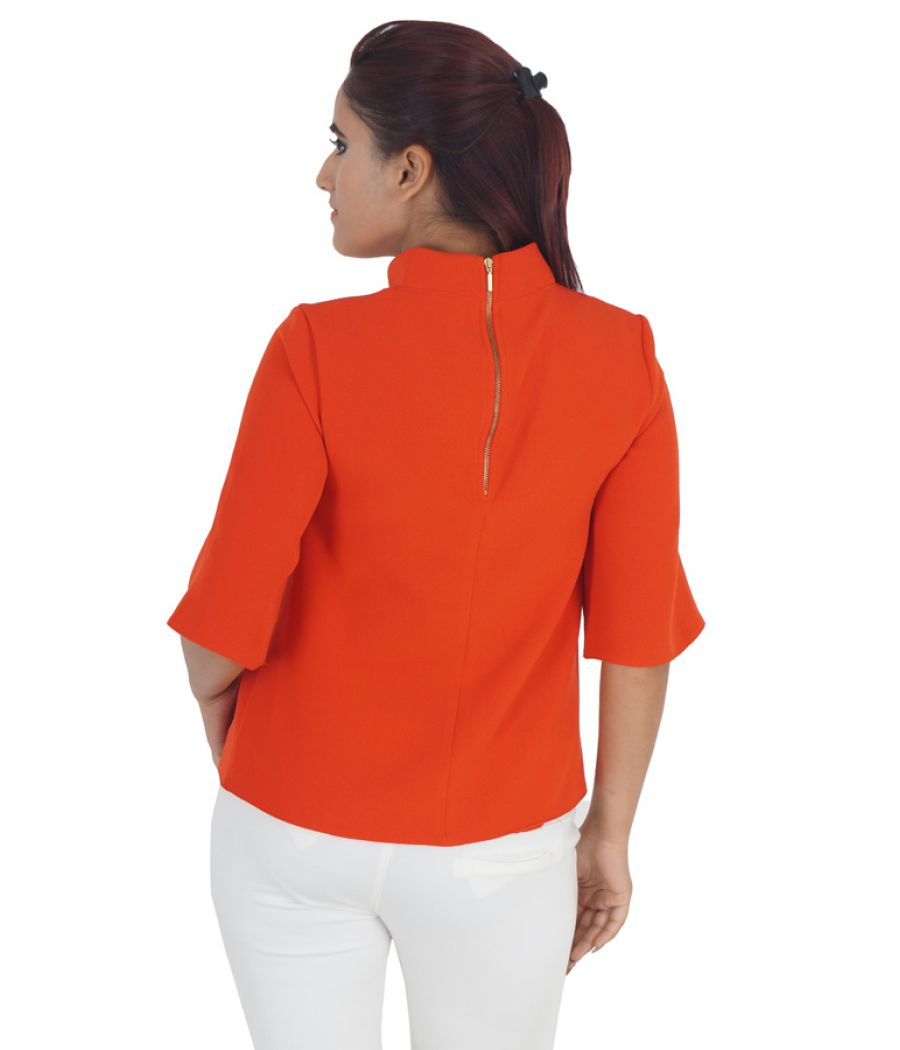 Closet Stretch Knit Plain Solid Orange Coloured High Neck Casual Top