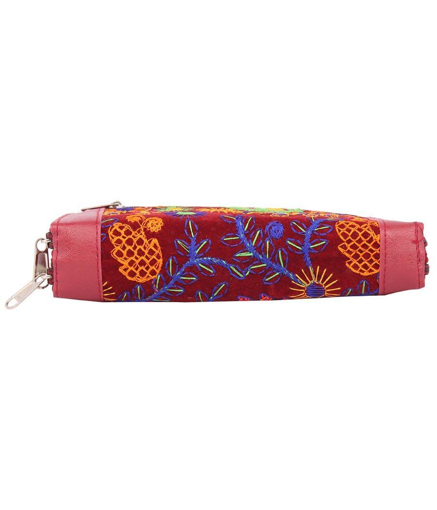 Envie Faux Leather Peach & Maroon Zipper Closure Embroidered Clutch