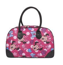Aliado Cloth/Textile/Fabric Printed Pink Zipper Closure Handbag