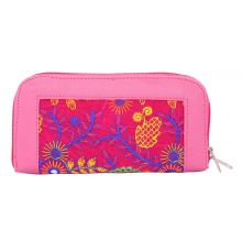Envie Faux Leather Embroidered Pink & Multi Zipper Closure Clutch