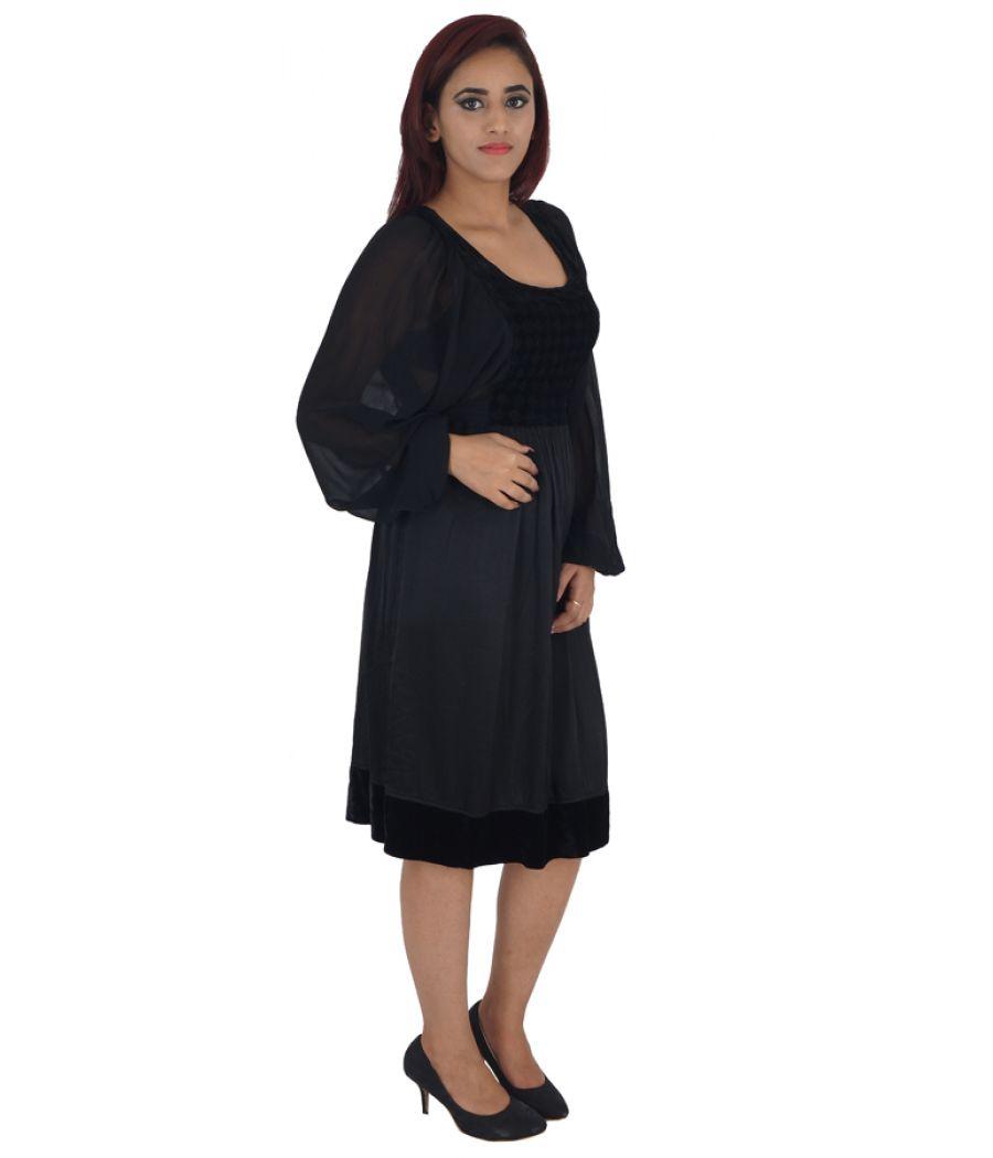 Ghost London Viscose Checkered Black Full Sleeves Midi Dress