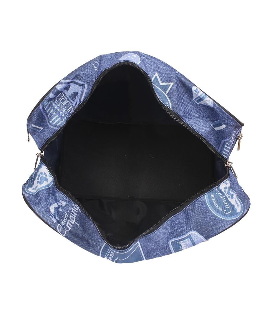 Aliado Cloth/Textile/Fabric Printed Blue Coloured Zipper Closure Handbag