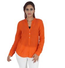 Zara Women Viscose Solid Orange Full Sleeves Casual Top