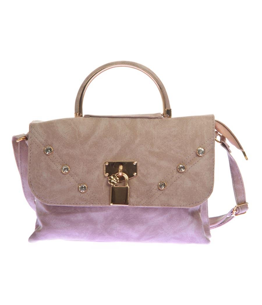Envie Faux Leather Solid Beige Magnetic Snap Embellished Sling Bag