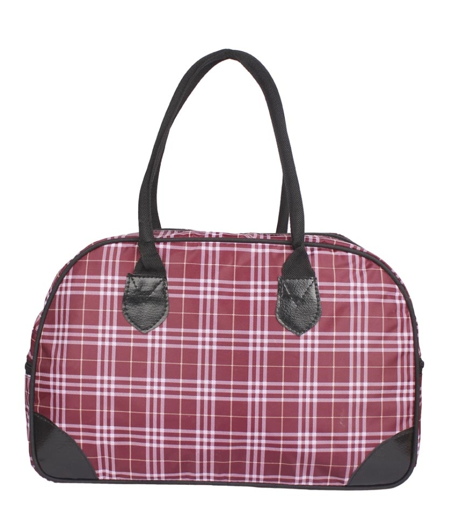 Aliado Cloth/Textile/Fabric Printed White & Pink Zipper Closure Handbag