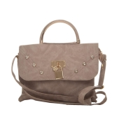 Envie Faux Leather Solid Cream Magnetic Snap Stylish Sling Bag