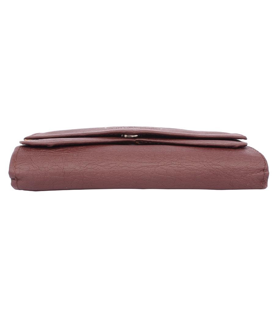 Envie Faux Leather Solid Mauve Magnetic Snap Clutch
