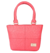 Aliado Faux Leather Pink Coloured Zipper        Closure Handbag