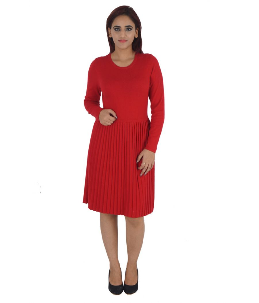 Monsoon Cotton Solid Maroon Casual Midi Shift Dress