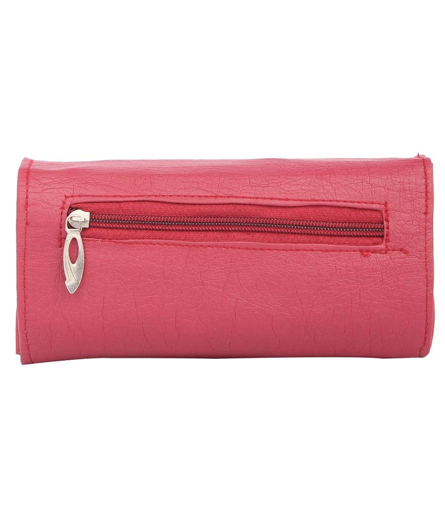 Envie Faux Leather Solid Pink Magnetic Snap Fold Over Clutch