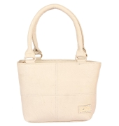 Aliado Faux Leather Cream Coloured Zipper Closure Handbag