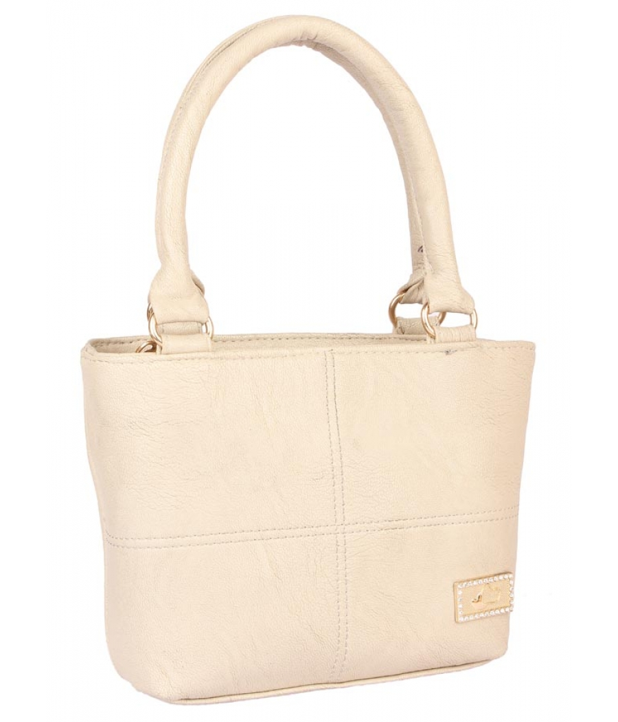 Aliado Faux Leather Cream Coloured Zipper Closure Handbag