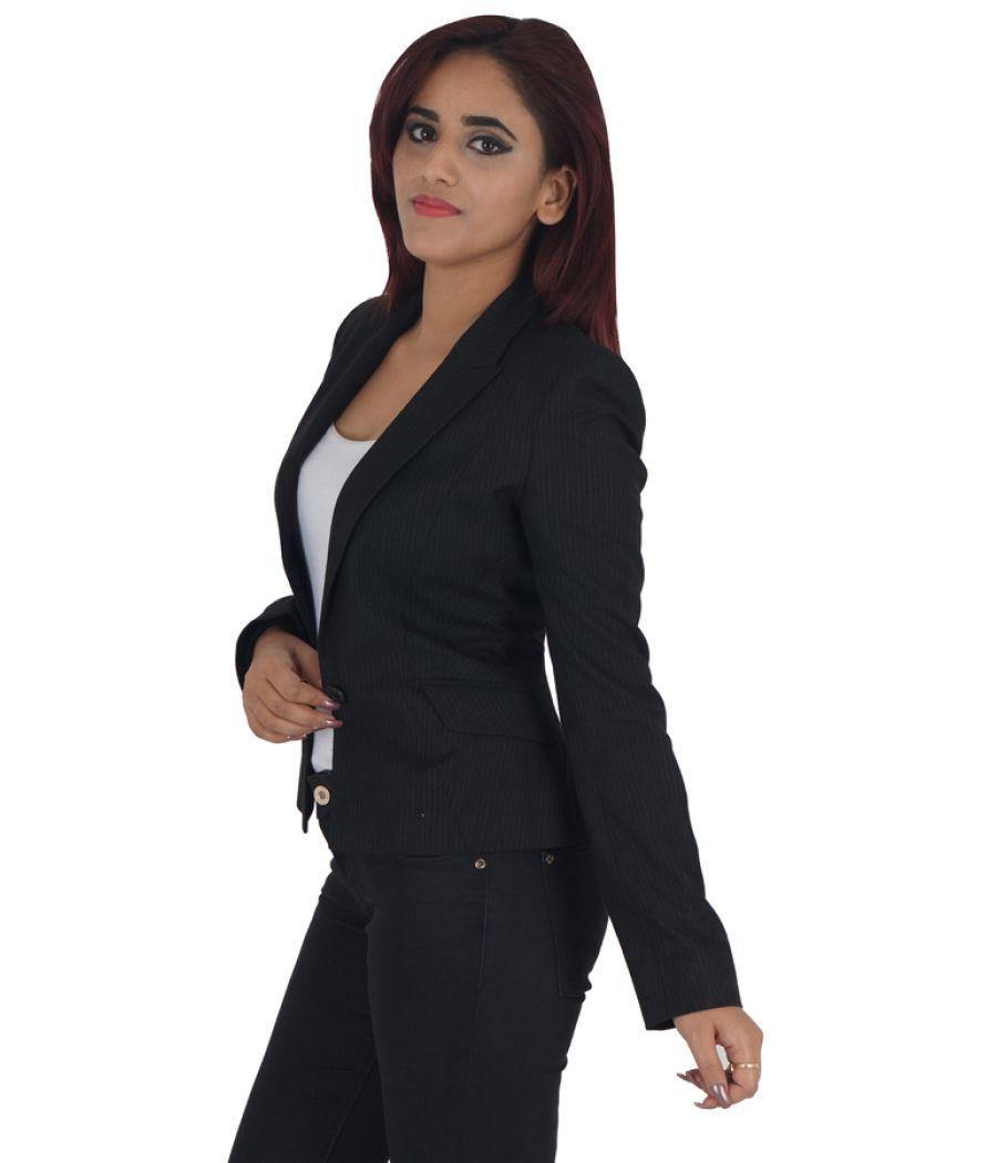 Warehouse Viscose Printed Black Full Sleeves Waist Length Coat