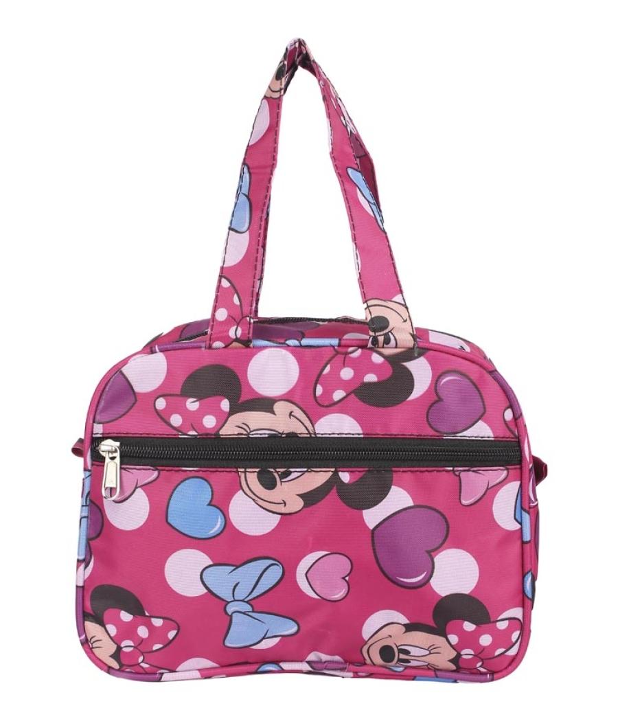 Aliado Cloth/Textile/Fabric Printed Pink & Multi Zipper Closure Handbag