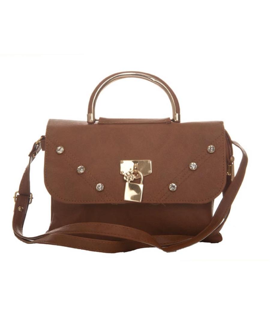 Envie Faux Leather Solid Brown Magnetic Snap Embellished Sling Bag
