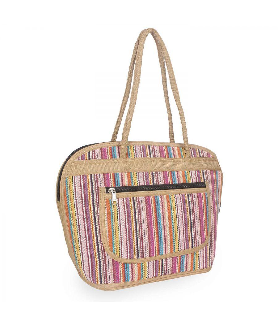 Aliado Textile Multi Color Zipper Closure Handbag