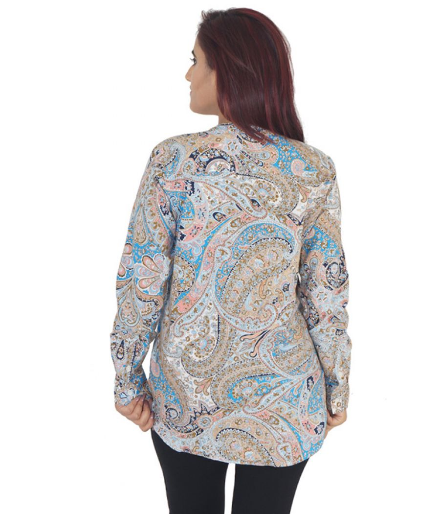Lands End Silk Satin Paisley Print Multi Coloured Full Sleeved Casual Tunic