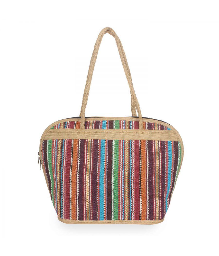 Aliado Textile/Fabric Multi color Zipper Closure Handcrafted Handbag