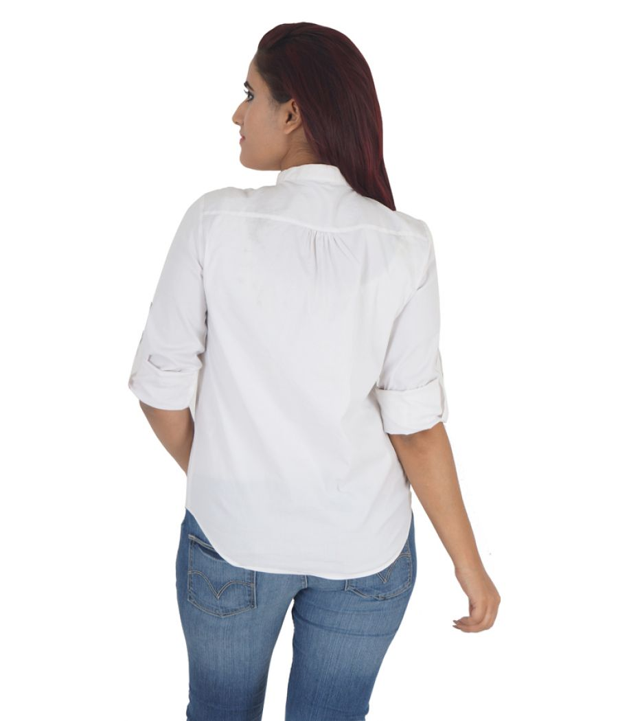 Zara Basic Cotton Plain Solid White Full Sleeves Button Closure Casual Top