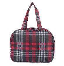 Aliado Cloth/Textile/Fabric Printed Red & Black Zipper Closure Handbag