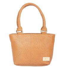 Aliado Faux Leather Brown Coloured Zipper Closure Handbag