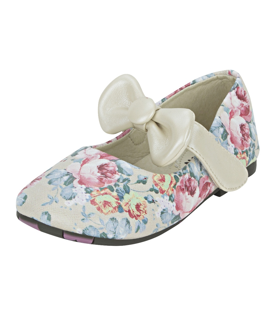 Joy n Fun Printed Leather Front Strap with Bow Beige Party Wear Shoes for Baby Girls
