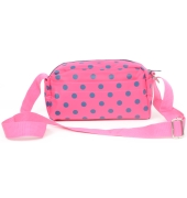 Aliado Synthetic Water proof Pink with Blue polka dots and 1 zipper, one open pocket utility bag