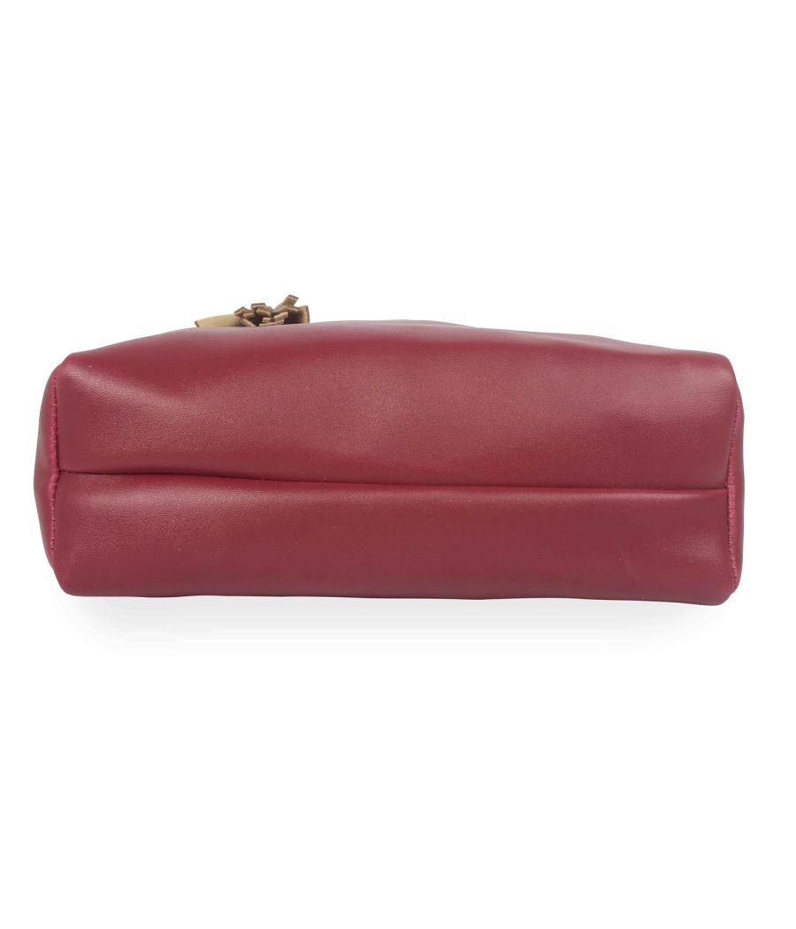Aliado Polyester Maroon & Gold Zipper Closure  Sling Bags