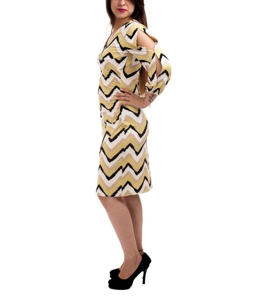 Etashee Certified Viscose Geometric Print Mustard, White & Black Crossover Shift Midi Dress
