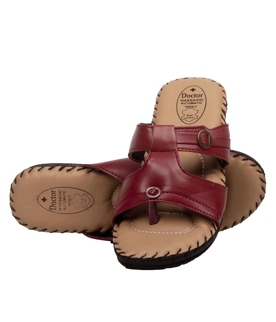 Rudra Collection Synthetic Leather Maroon Twin Strap Platform Flip Flop