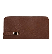 Envie Faux Leather Coffee Brown Magnetic Snap Closure Croc Pattern Clutch