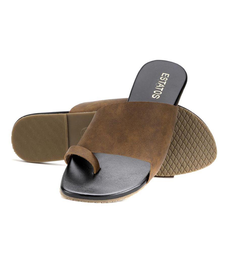 Estatos Brown Colour Broad Strap Open Toe Casual Flats