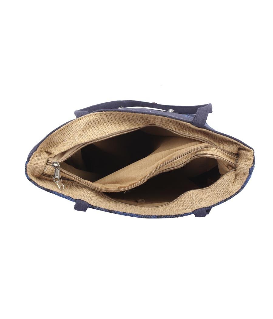 Aliado Jute Blue Coloured Zipper Closure Bag