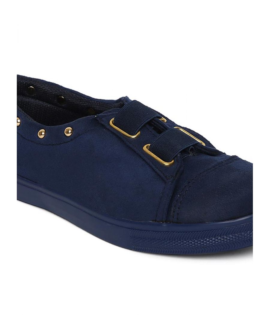 Estatos Broad Toe Navy Blue Comfortable Flat Sneakers for Women