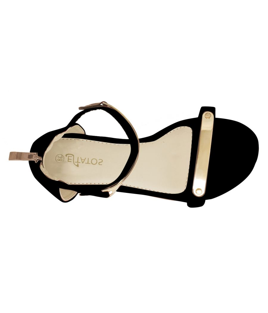 Estatos Faux Leather Open Toe Ankle Strap Metal Decorated Zip Closure Black Flat Sandals for Women