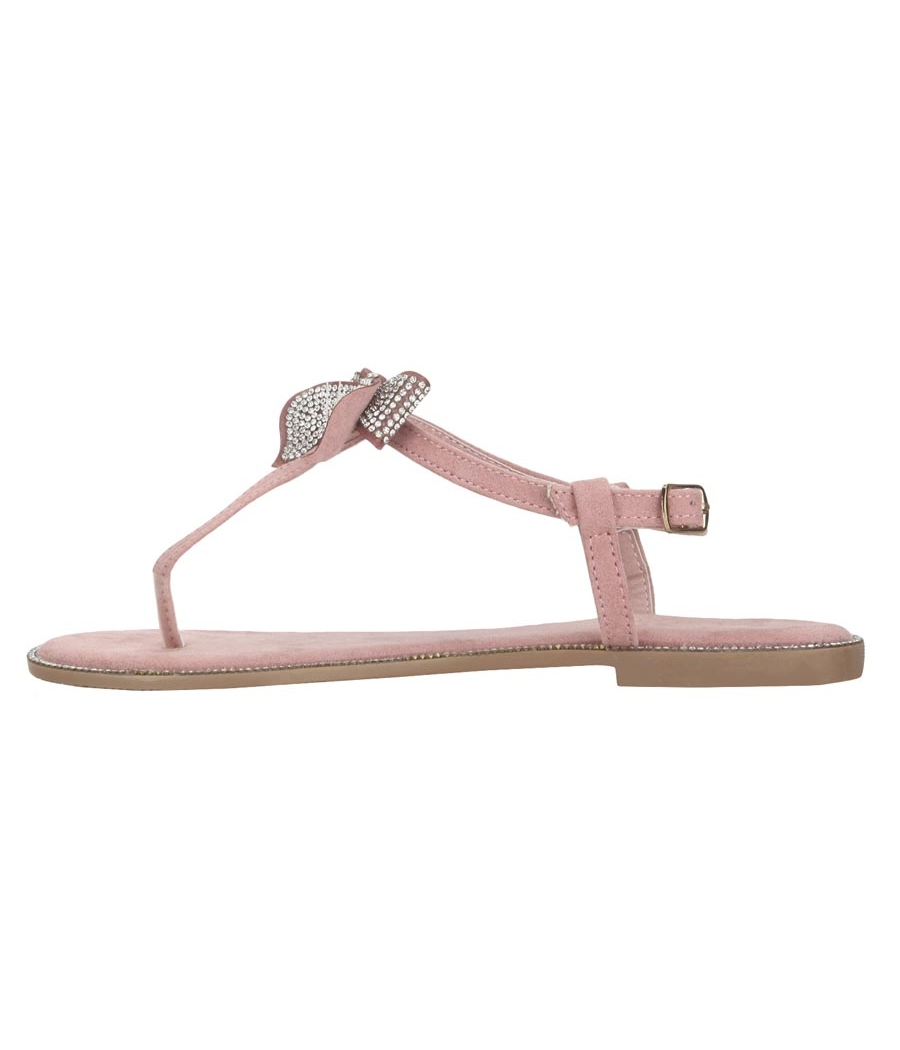 Estatos Leather Pink Buckle Closure T Strap Open Toe Casual Flat  Sandals