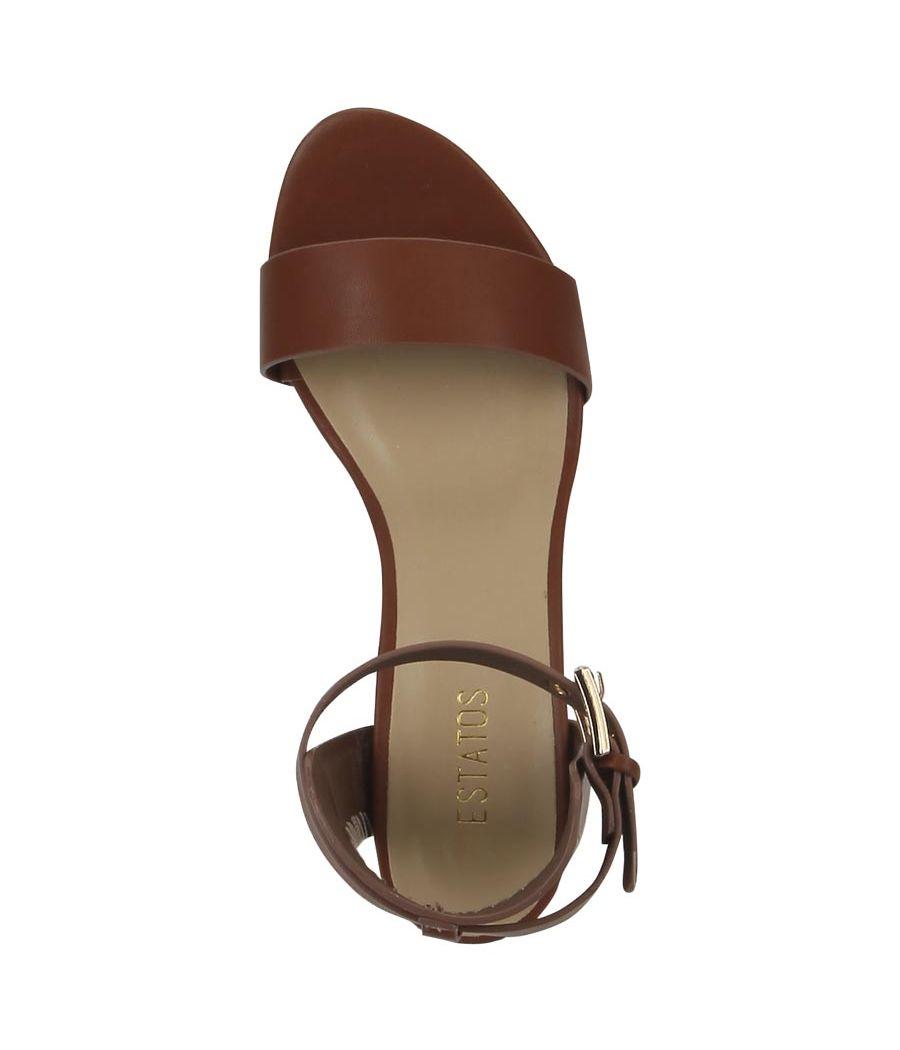Estatos Leather Brown Buckle Closure Open Toe Block Heel Sandals