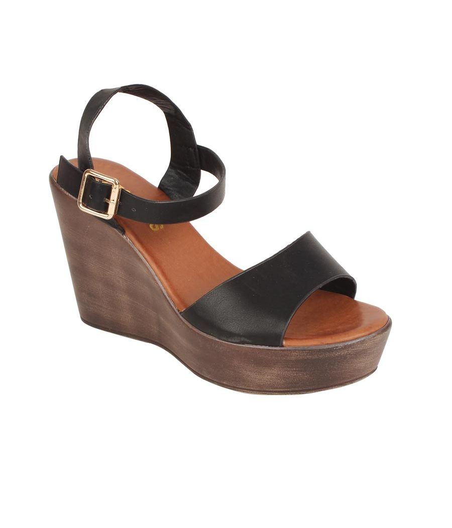 Estatos PU Black Coloured Buckle  Closure Open Toe Ankle Strap Platform Wedges